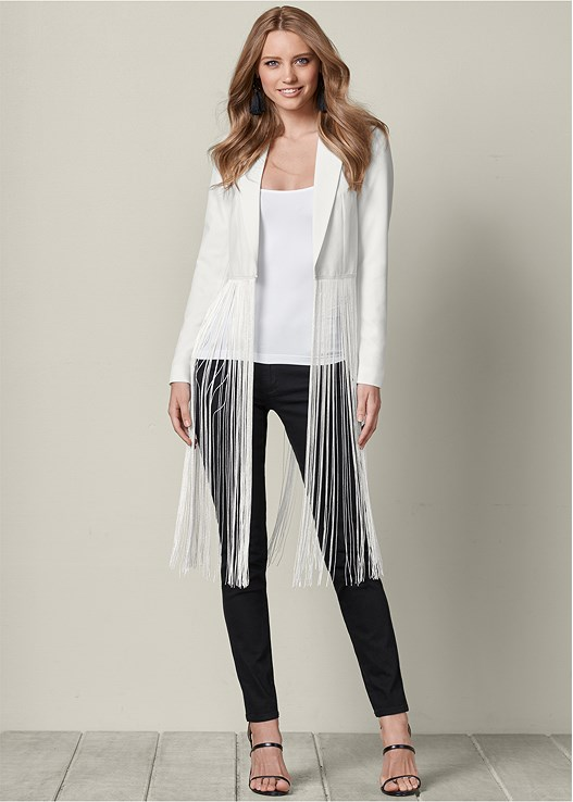 FRINGE BLAZER,SEAMLESS CAMI,COLOR SKINNY JEANS,HIGH HEEL STRAPPY SANDALS,TASSEL EARRINGS