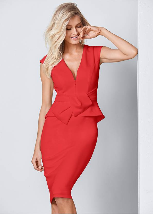 Bow Detail Bodycon Dress,High Heel Strappy Sandals,Hoop Detail Earrings