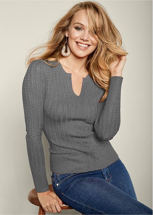 VENUS | Ribbed Sweater in Heather Grey