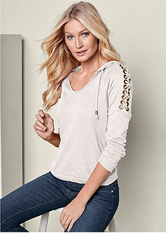lace up shoulder hoodie