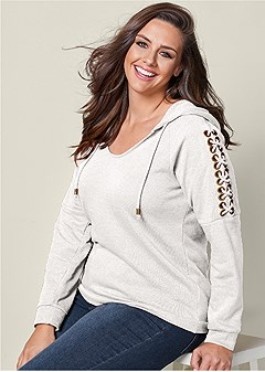 plus size lace up shoulder hoodie
