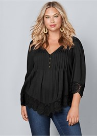 Plus Size Lace Detail Button Up Top