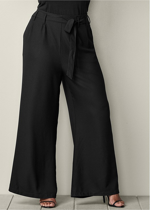 dbcbafc7255 Plus Size BELTED WIDE LEG PANTS in Black