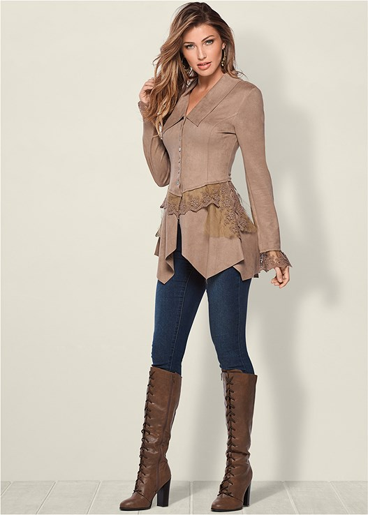 FAUX SUEDE AND LACE JACKET,COLOR SKINNY JEANS,LACE UP TALL BOOTS