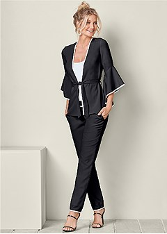 sleeve detail pant suit