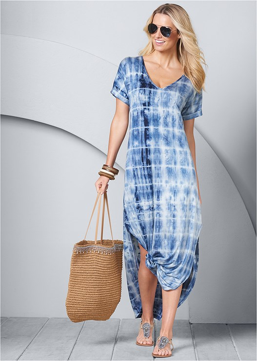 CASUAL MAXI DRESS,EMBELLISHED THONG SANDAL,CIRCLE DETAIL HANDBAG