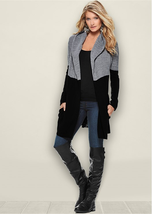 SEAMLESS CAMI,COLOR SKINNY JEANS,BUCKLE KNEE HIGH BOOT