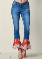 printed hem jeans