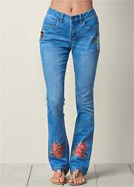 Front View Embroidered Jeans