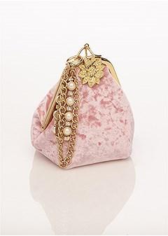 pearl detail velvet handbag