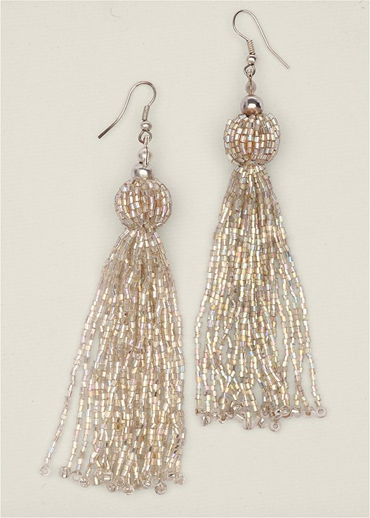 BEADED TASSEL EARRINGS,LACE DETAIL DRESS