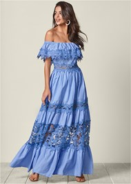 Front View Lace Detail Maxi Dress