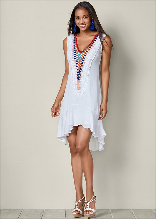 EMBROIDERED DETAIL DRESS,BRAIDED DETAIL WEDGES