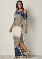 tie dye cold shoulder maxi