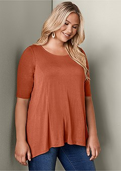 plus size boat neck a-line top