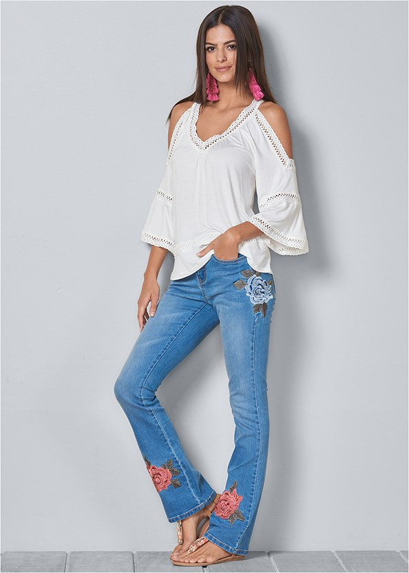 Embroidered Jeans,Cold Shoulder Lace Trim Top,Cupid U Plunge Bra,Distressed Sequin Detail Skinny Jeans