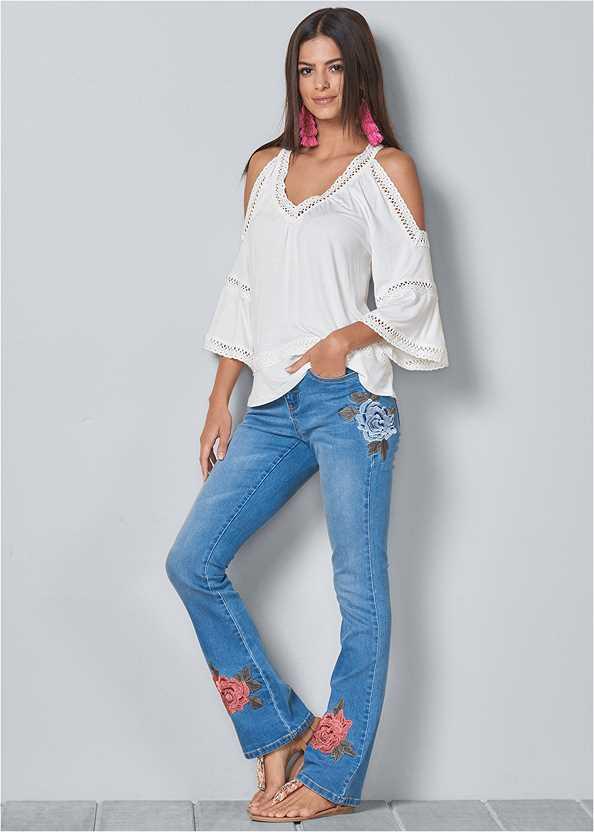 Embroidered Jeans,Cold Shoulder Lace Trim Top,Cupid U Plunge Bra,Distressed Sequin Detail Skinny Jeans