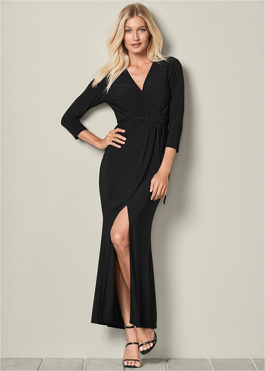 FAUX WRAP MAXI DRESS,HIGH HEEL STRAPPY SANDALS