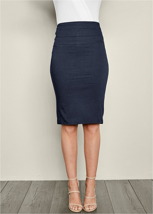 SLIMMING PENCIL MIDI SKIRT,HARDWARE DETAIL SANDAL