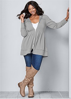 plus size pleated hoodie jacket