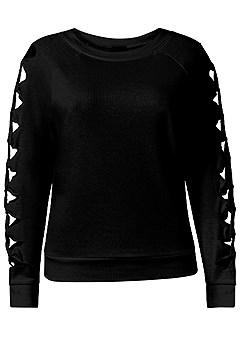 plus size knot sleeve sweatshirt