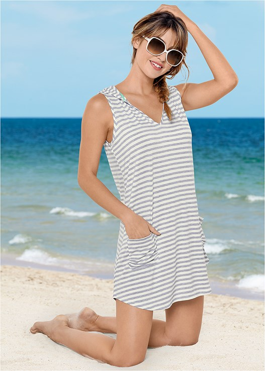 HOODED POCKET COVER-UP,UNDERWIRE TWIST TANKINI,LOW RISE BIKINI BOTTOM,MID RISE BOTTOM
