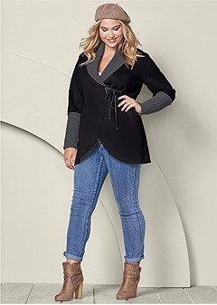 plus size wrap sweater detail coat