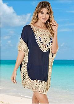 plus size crochet detail cover-up