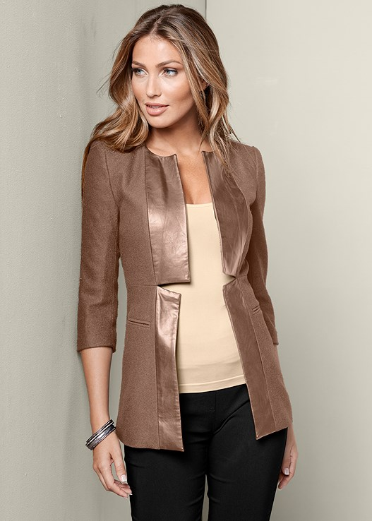 FAUX LEATHER TRIM JACKET,SEAMLESS CAMI,SLIMMING STRETCH JEGGINGS,STUDDED BUCKLE BOOT