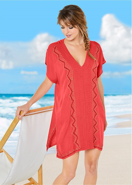 EMBROIDERED COVER-UP,ALLURING HIGH NECK TOP,SCOOP FRONT BIKINI BOTTOM