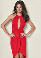 open back drape dress