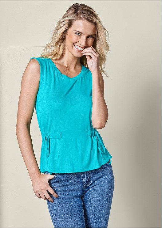 TIE DETAIL CASUAL TOP,COLOR SKINNY JEANS