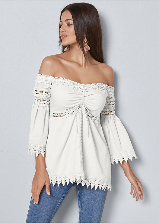 aae7c5cb2d23 White OFF THE SHOULDER TOP from VENUS