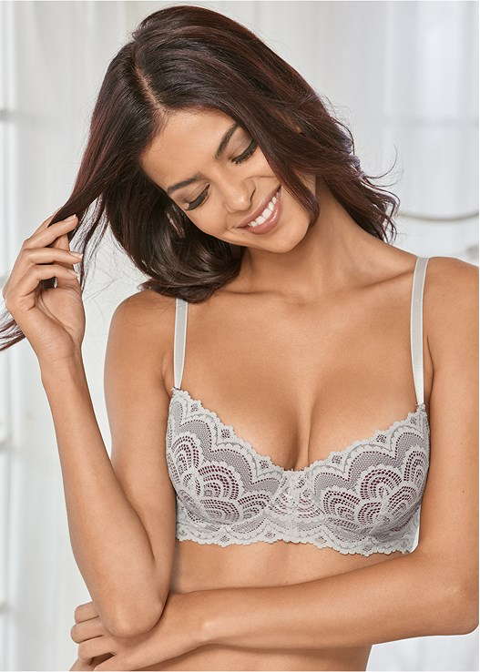 SCALLOPED LACE BRA 2-PACK,LACE TOP BRIEF 5 FOR $29