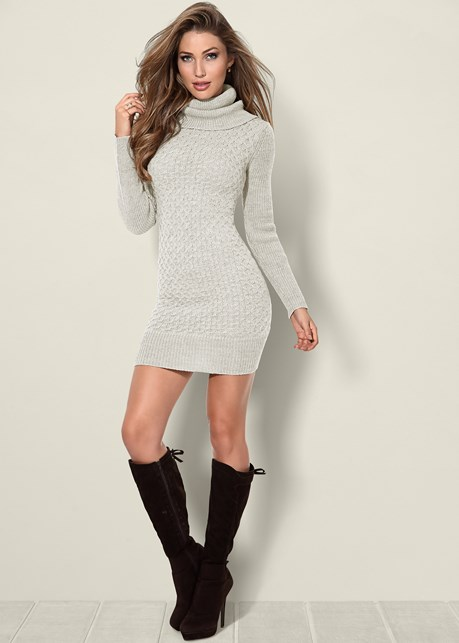 Turtleneck Sweater Dress in Off White | VENUS
