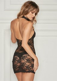 Back view High Neck Sheer Negligee