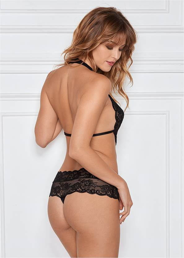 Back view Lace Halter Teddy