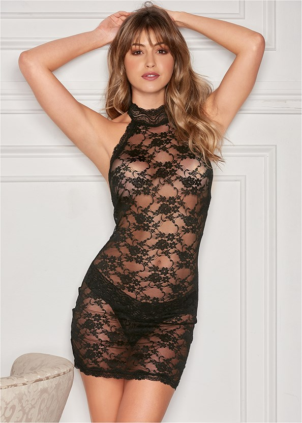 High Neck Sheer Negligee,Lace Thong 3 For $19