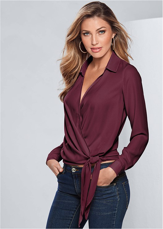 SURPLICE SIDE TIE BLOUSE,SEAMLESS CAMI,COLOR SKINNY JEANS,STUDDED BUCKLE BOOT,KISSABLE STRAPPY LACE BRA