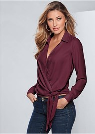 Front view Surplice Side Tie Blouse