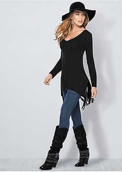 fringe detail tunic top
