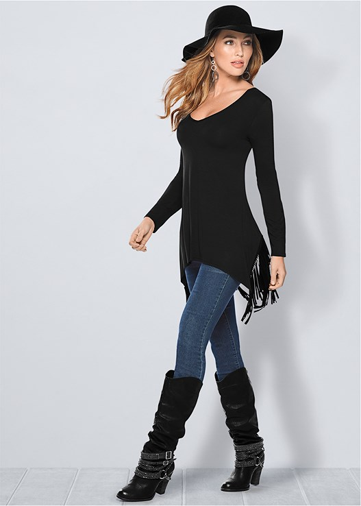FRINGE DETAIL TUNIC TOP,COLOR SKINNY JEANS,STUDDED BUCKLE BOOT,KISSABLE STRAPPY BRA
