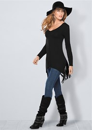 Front view Fringe Detail Tunic Top