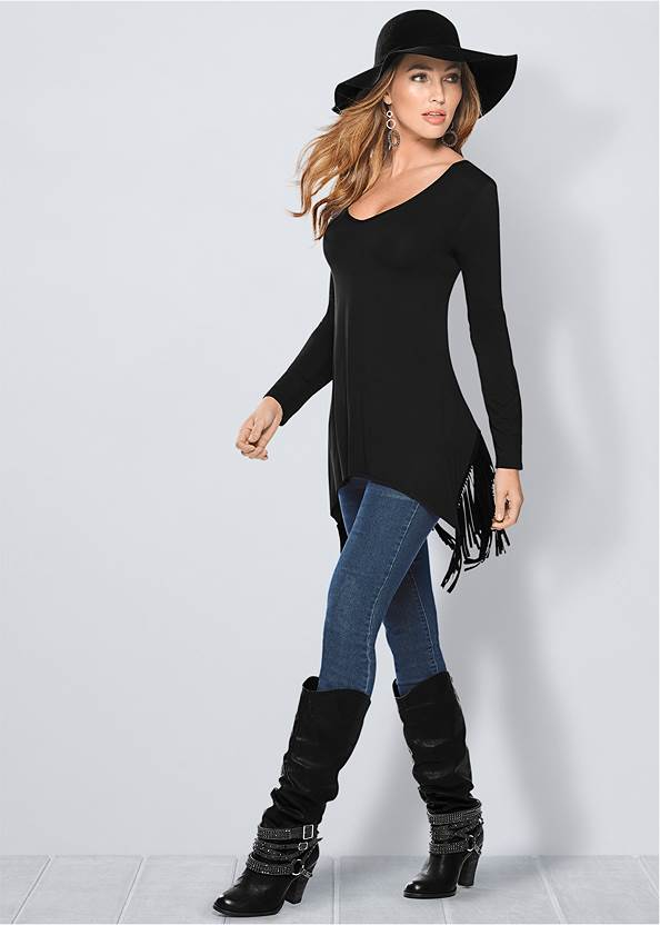 Fringe Detail Tunic Top,Mid Rise Color Skinny Jeans