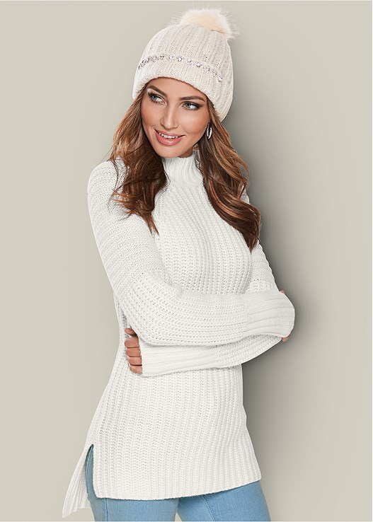 MOCK NECK RIBBED SWEATER,3 PACK SHAPING CAMI,EMBELLISHED BUCKLE BOOTIE