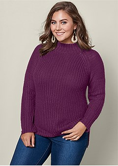 plus size mock neck ribbed sweater