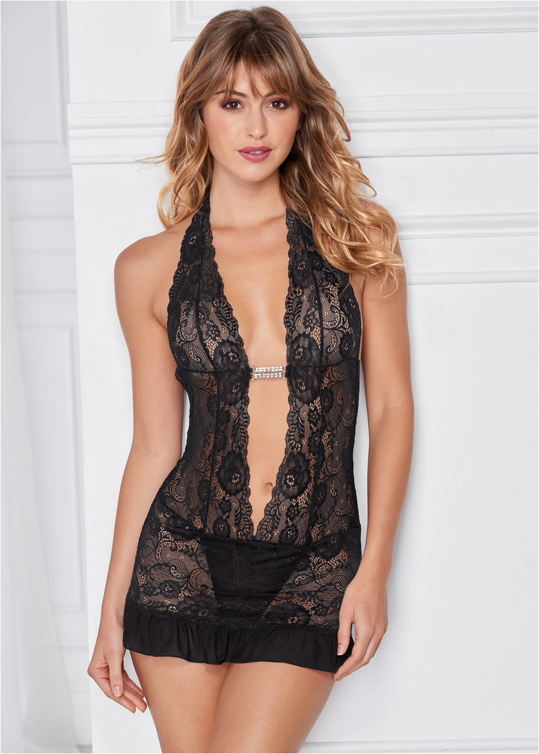 Deep V Sheer Lace Negligee,Fishnet Thigh Highs,Embellished Resin Earrings,Print Detail Handbag