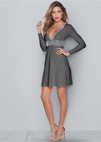 deep v trim detail dress