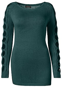 plus size sleeve detail tunic sweater