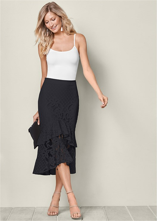 LACE RUFFLE MIDI SKIRT,SEAMLESS CAMI,HIGH HEEL STRAPPY SANDALS